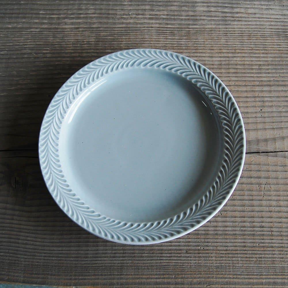 感器工房 波佐見焼 翔芳窯 ローズマリー リムプレート 皿 約24cm グレー 332785