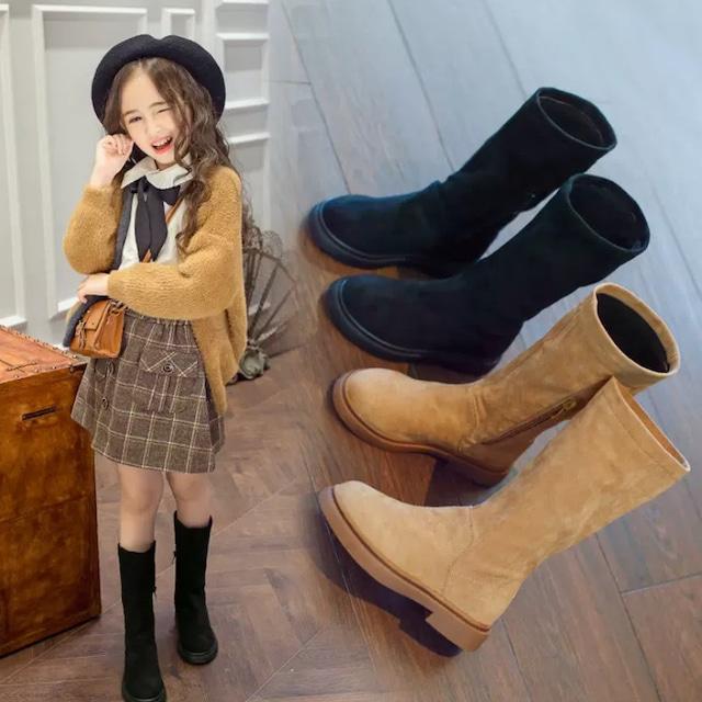 16cm~23cm 2カラー ★ 靴 ロングブーツ シンプル カジュアル チャック