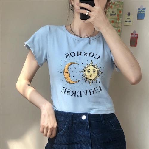 Tシャツ 半袖 袖切りっぱなしデザイン ショート丈 月と太陽 ブルー 韓国ファッション レディース 青 カットソー ラウンドネック かわいい カジュアル ガーリー 614247121002_bl