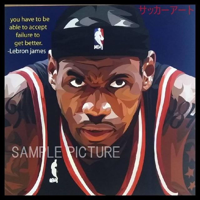 スポーツグラフィックアートパネル レブロン・ジェームズ デザインC 木製 壁掛け ポスター (003-077)