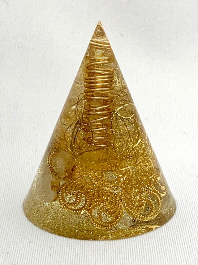 円錐型オルゴナイトミニサイズ【ゴールドルチル・シトリン・天然水晶】金運・財運アップに♫