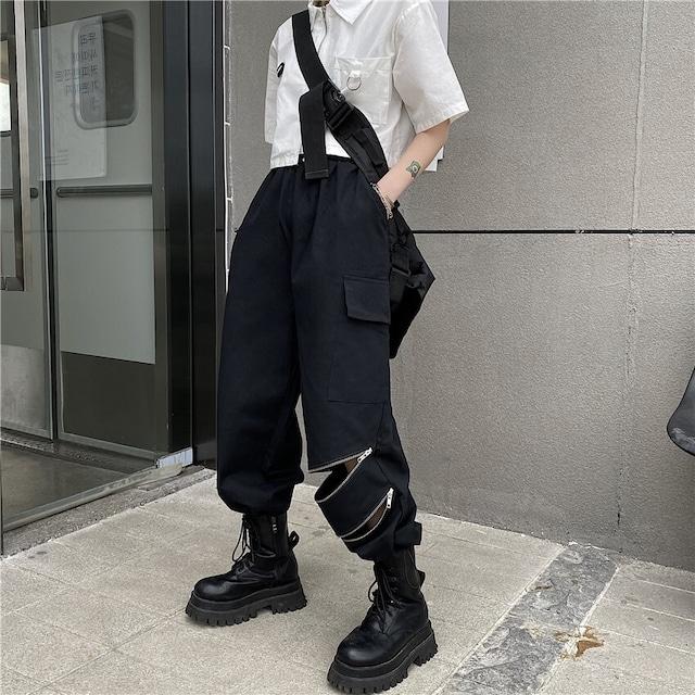 【ボトムス】無地カジュアルファッション透かし彫りファスナーつきパンツ43967190