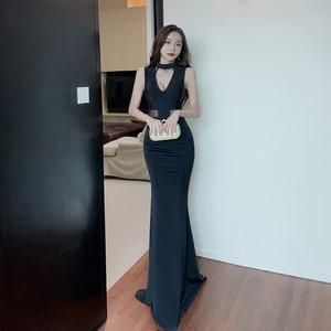 高級感 ブラック 谷間魅せ 肌見せ ロングドレス キャバドレス MY2018