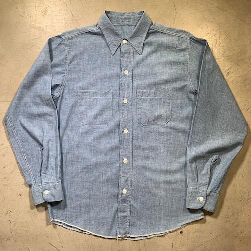 ~60's WASHINGTON DEE CEE シャンブレーシャツ ワークシャツ WPL5493 襟芯なし Mサイズ 希少 ヴィンテージ BA-1511 RM1930H