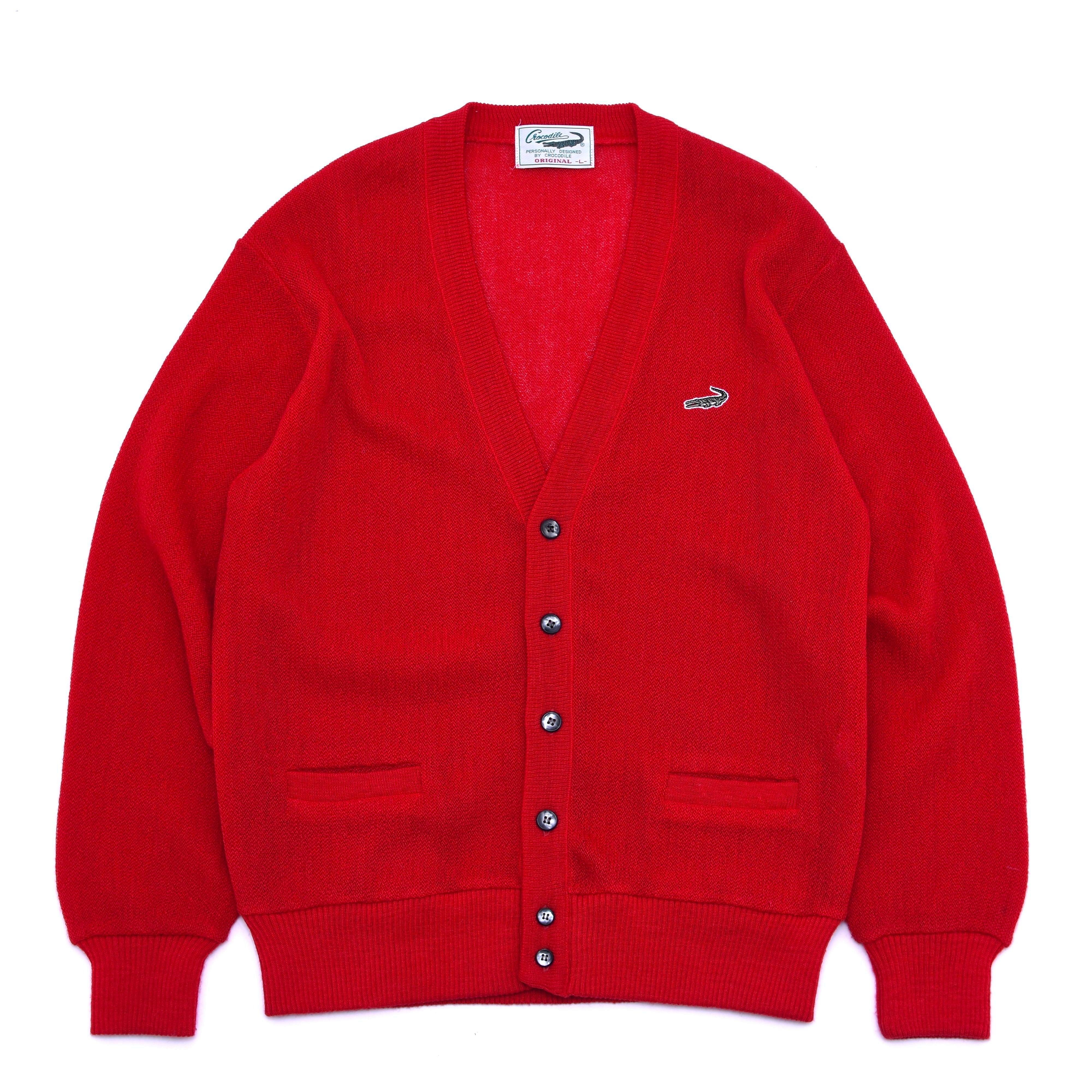 Red acrylic knit cardigan