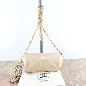 CHANEL MATELASSE COCO MARC TUSSEL CHAIN LEATHER SHOULDER BAG MADE IN ITALY/シャネルマトラッセココマークタッセルチェーンレザーショルダーバッグ