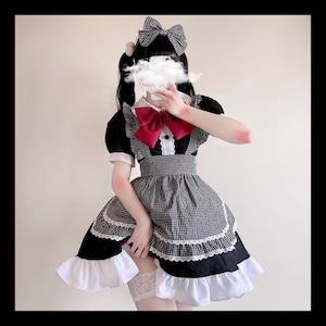 【お取り寄せ】ギンガム レッドリボン メイド服