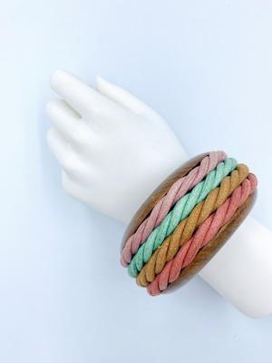 ウッド カラー ロープ 太バングル