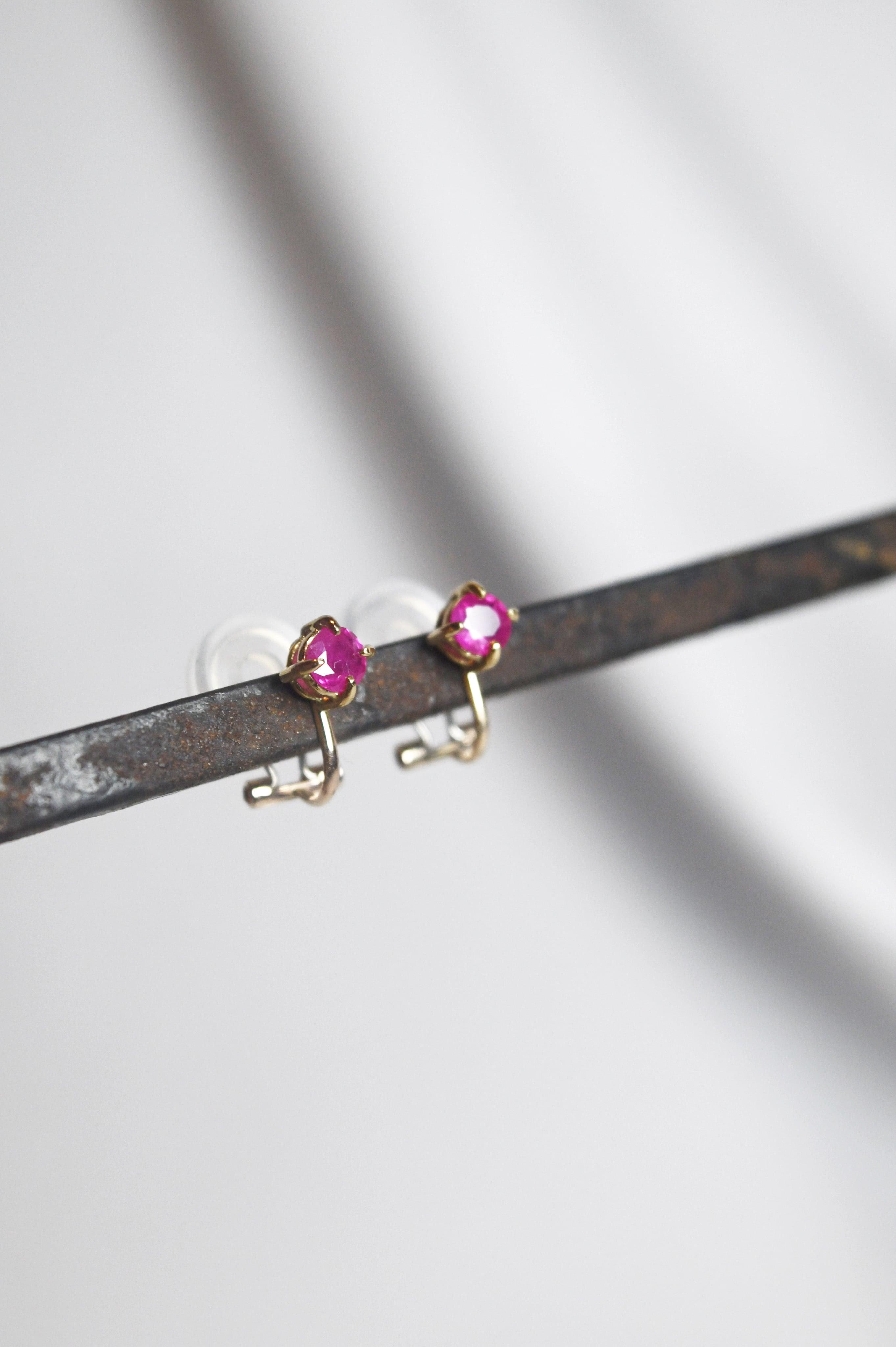 K18 Myanmar Ruby Earrings 18金ミャンマー産ルビーイヤリング