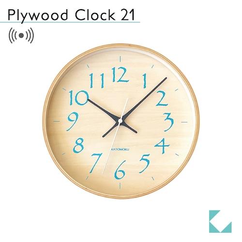 KATOMOKU plywood clock 21 km-120LBRC 電波時計