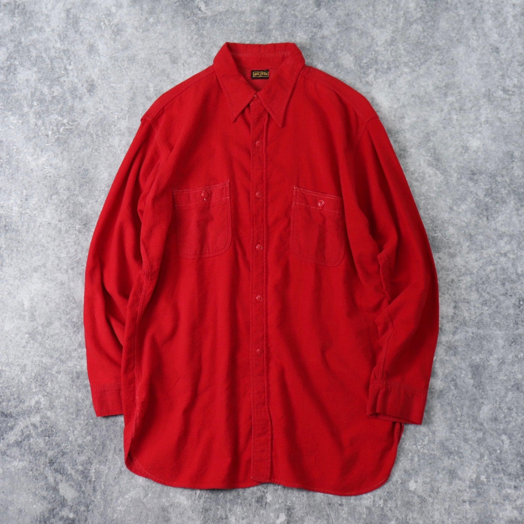 """40~50年代 """" BIG JESS """" フランネルシャツ 赤 マチ付き L ヴィンテージ A805"""