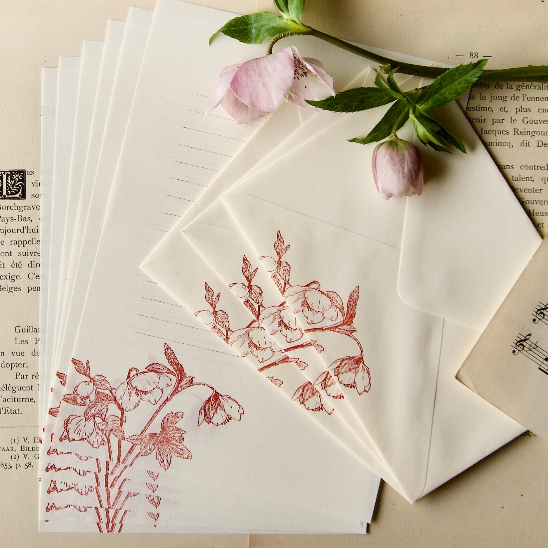 【レターセット】 クリスマスローズA / 便せん6枚+封筒3枚/活版印刷