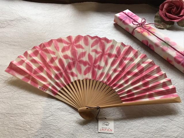 京都黒谷和紙 扇子 雪花絞り   女性用(ピンク)