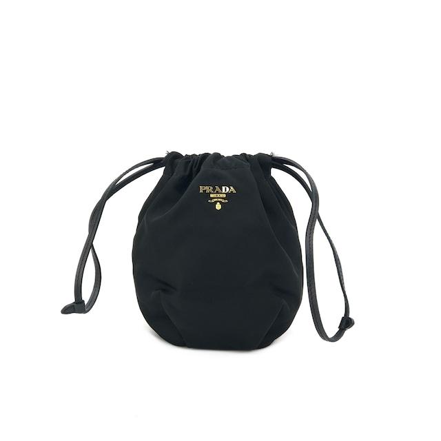 PRADA プラダ 巾着 ポーチ ハンドポーチ アクセサリーポーチ ナイロン ブラック vintage ヴィンテージ オールド uyh3ab