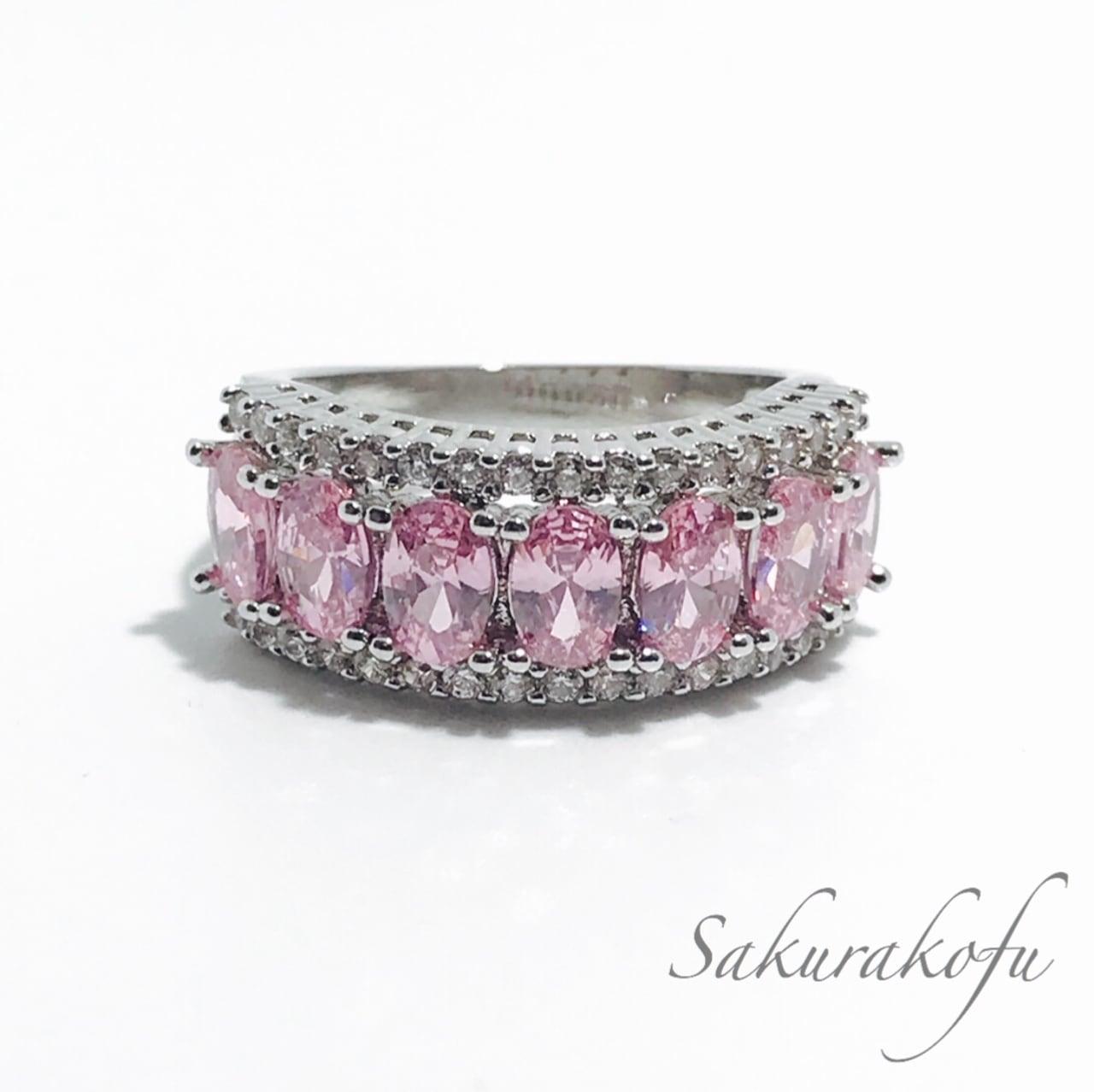 D004 人気デザイン レディース 指輪 ピンクサファイア キュービックジルコニア Pink Sapphire Glamorous  Pavering