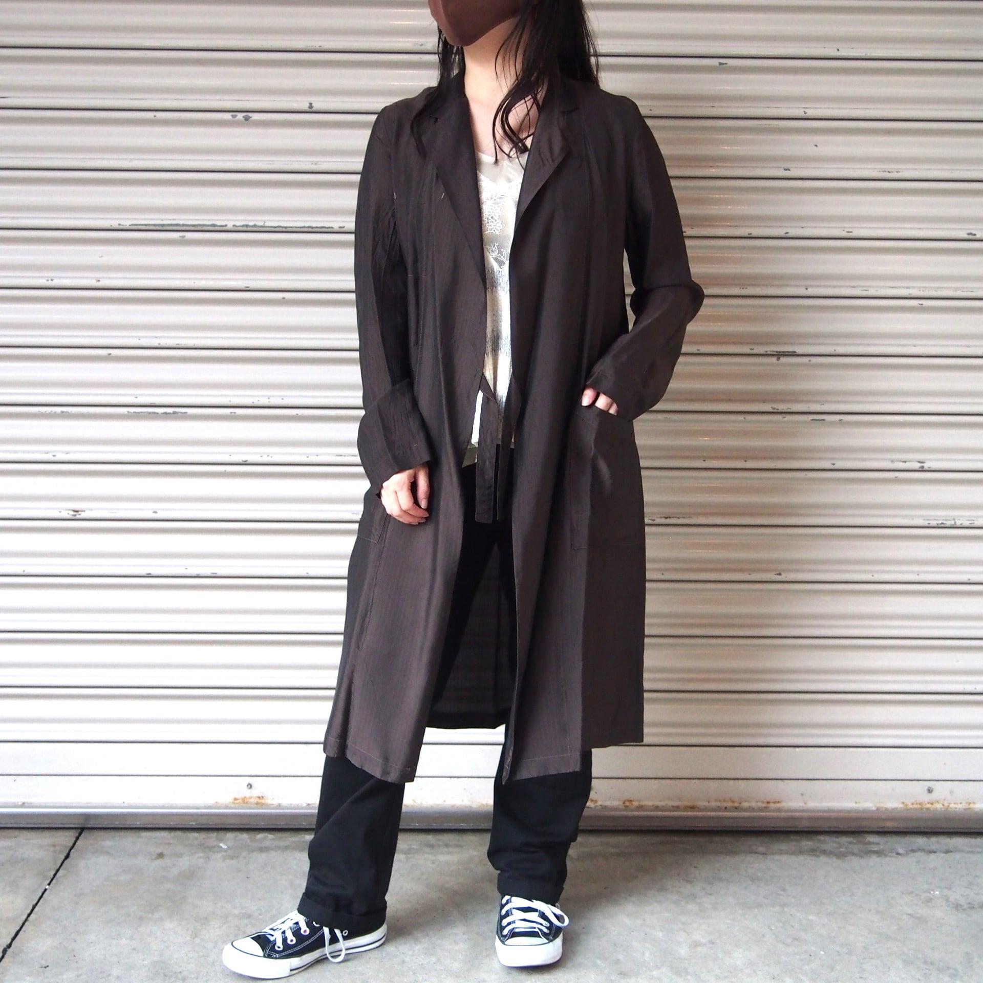 【hippiness】cupro coat( herringbone /59dark brown)/ 【ヒッピネス】キュプラ コート(ヘリンボーン/ダークブラウン)