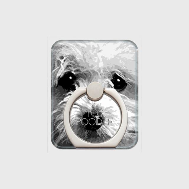 トイプードル おしゃれな犬スマホリング【IMPACT -shirokuro- 】