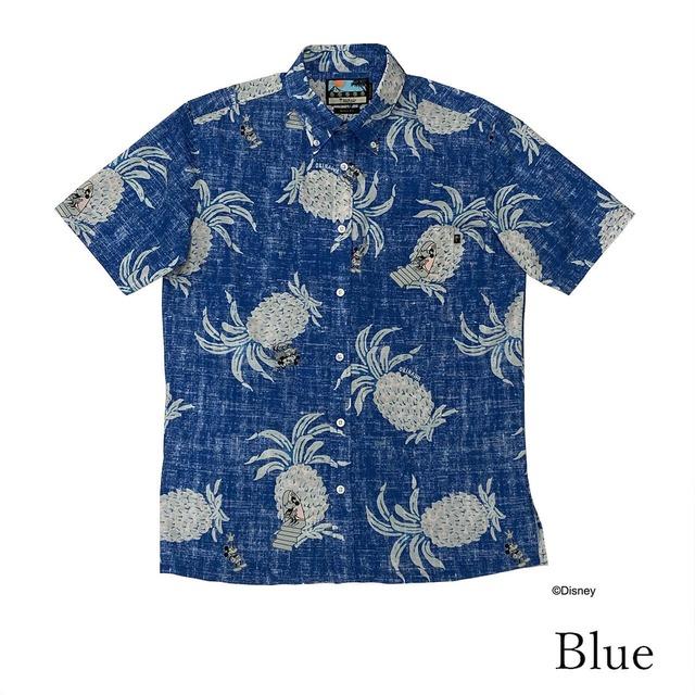 PAIKAJI アロハシャツ ブルー「Men's Short-Sleeve Shirt Pineapple Mickey」