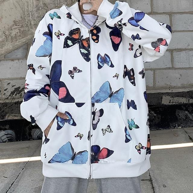 ユニセックス パーカー バタフライ 蝶 ジップアップ 長袖 オーバーサイズ 韓国ファッション メンズ レディース カジュアル ストリートファッション TBN-655102727322