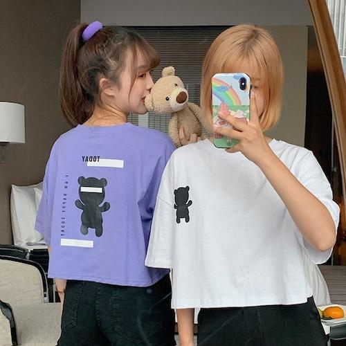 クマちゃん Tシャツ 半袖 ショート丈 韓国ファッション レディース ベアー ホワイト パープル シンプル カットソー ラウンドネック かわいい カジュアル ガーリー 619320885563