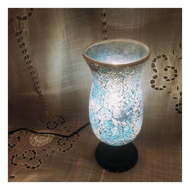 ミルグラス テーブルランプ フラワーポット/ブルー