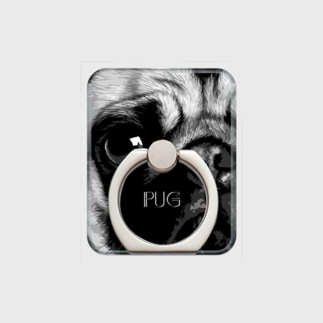パグ おしゃれな犬スマホリング【IMPACT -shirokuro- 】