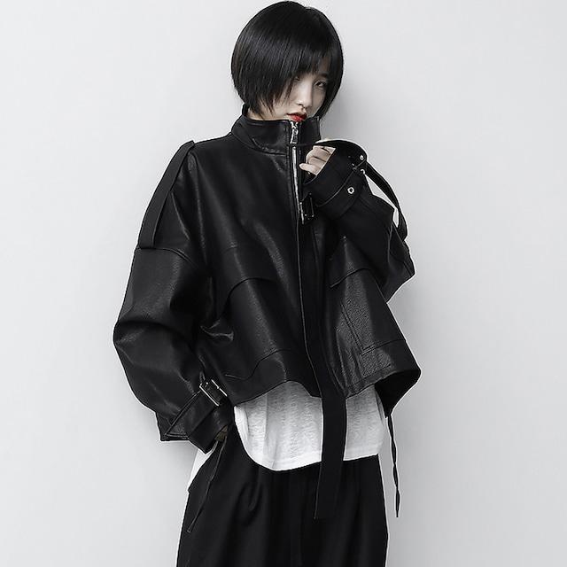 【KEN STUDIOシリーズ】★ジャケット★ PU アウター ショート丈 ブラック 黒い かっこいい ゆったり 合わせやすい