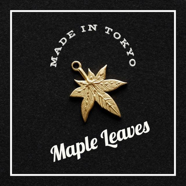 【3個】チャーム カエデの葉 (日本製、真鍮、無垢)
