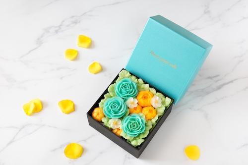 """【Mint Blue】""""ミニ""""ボックスフラワーケーキ<ミニサイズ>"""