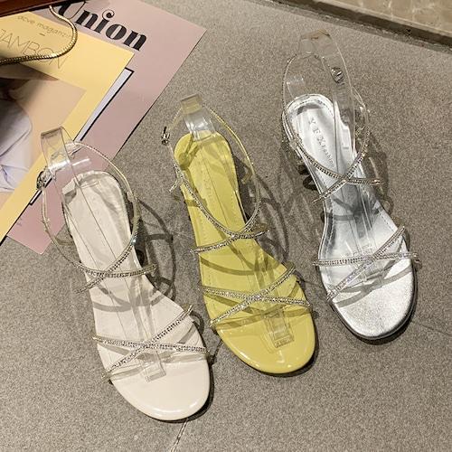 サンダル ラインストーン クロスストラップ 4cm チャンキーヒール ラウンドトゥ 韓国ファッション レディース アンクルストラップ パンプス 痛くない かわいい 靴 歩きやすい 613065386326