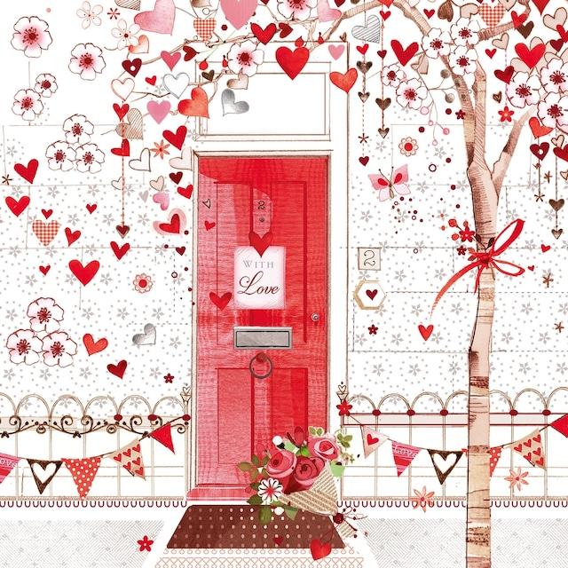 【Nouveau】バラ売り2枚 ランチサイズ ペーパーナプキン HEART TREE レッド