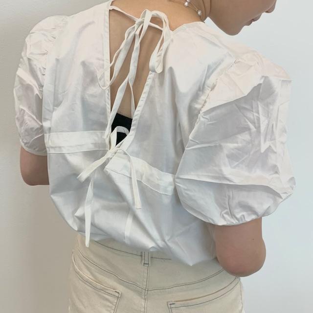 back ribbon gather blouse [2105-19]