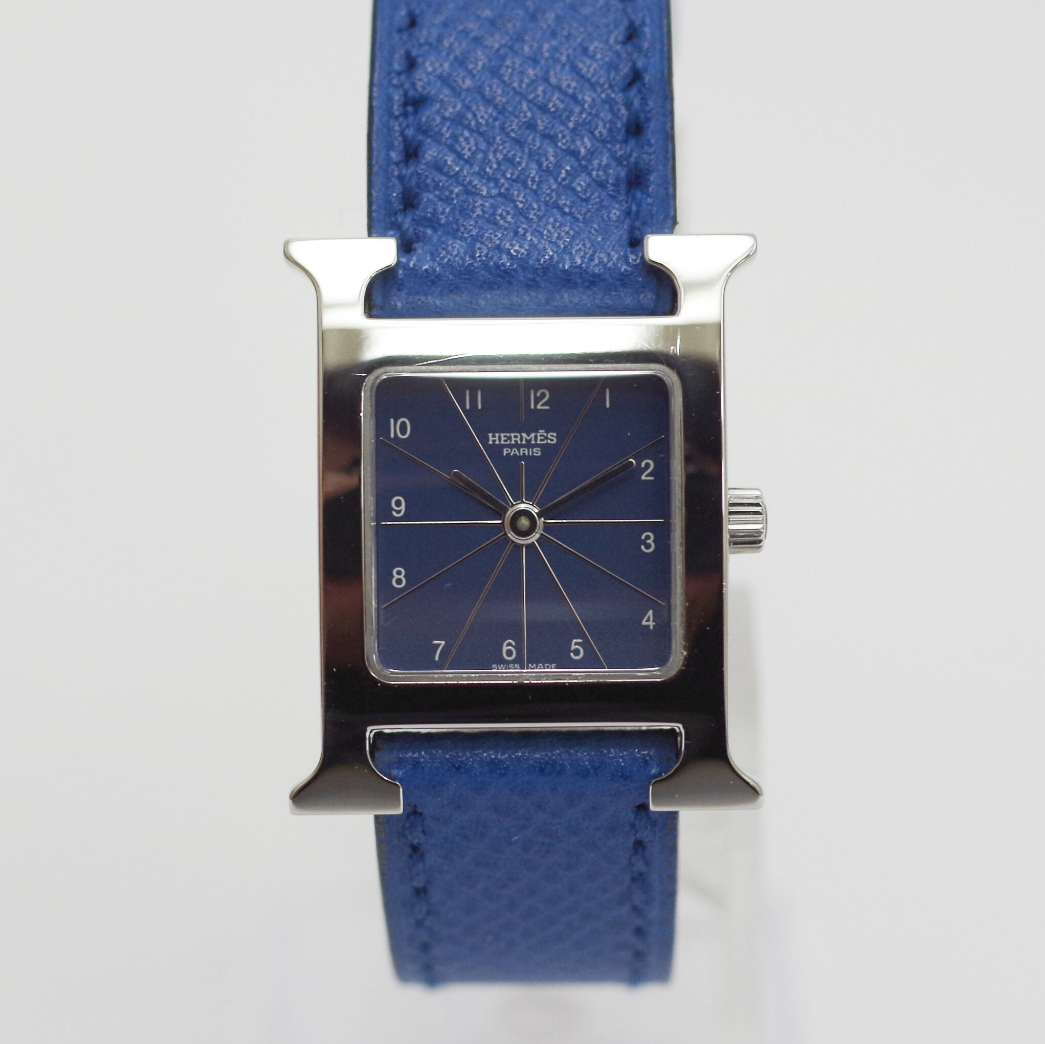 HERMES エルメス [HH1.210 H] クオーツ ブルー 革ベルト 腕時計 レディース