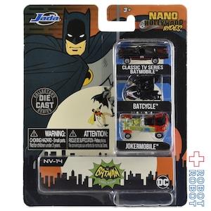 JADA TOYS ナノ・ハリウッド・ライズ 1.65インチ ダイキャストカー バットマン クラシックTVシリーズ バットモービル 3パック