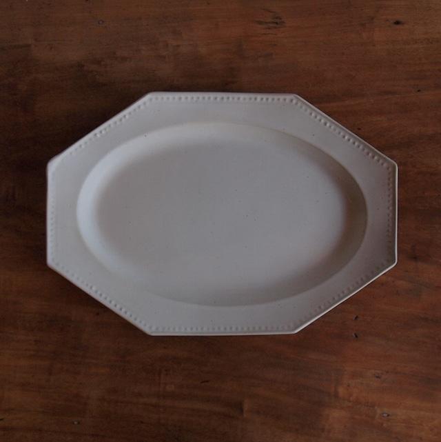吉田健宗|白釉オクトゴナル長皿