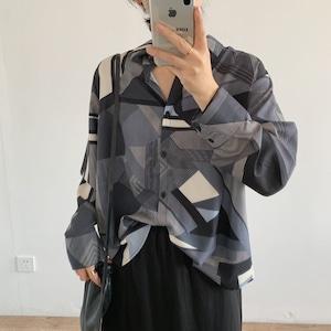 Asymmetry pattern silky shirt(アシンメトリーパターンシルキーシャツ)a-639