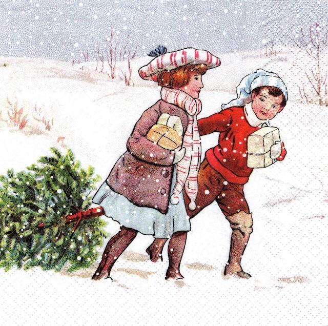 【Home Fashion】バラ売り2枚 ランチサイズ ペーパーナプキン PICKING UP CHRISTMAS TREE ホワイト