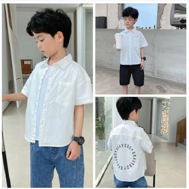 110~160cm ★ コットンシャツ 半袖 バックプリント ボーイズ シンプル