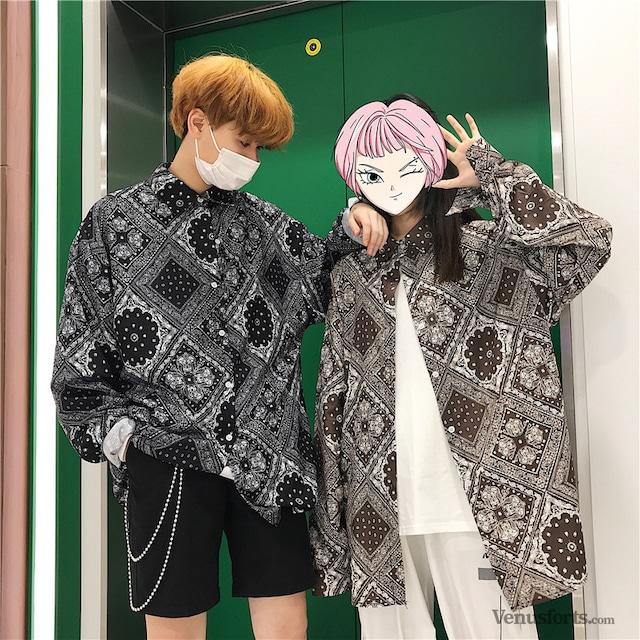 【トップス】配色ストリート系長袖シャツ43012180