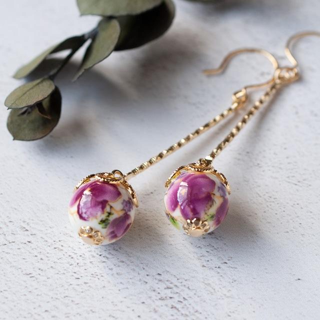 ひとつぶ中国陶器スイングピアス/イヤリング -紫花-