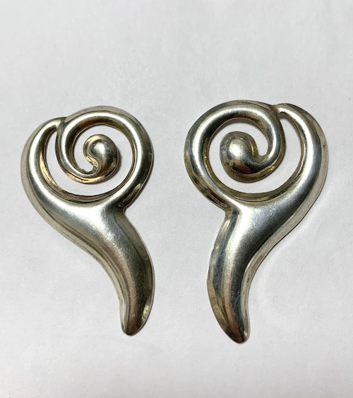 Vintage 925 Silver Modernist Pirced Earrings Made In Mexico