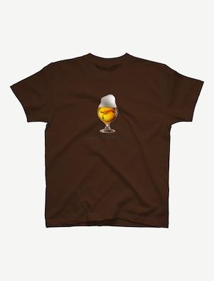 【ビールの中でしか・・・ウミガメ】Tシャツ(ダークブラウン)