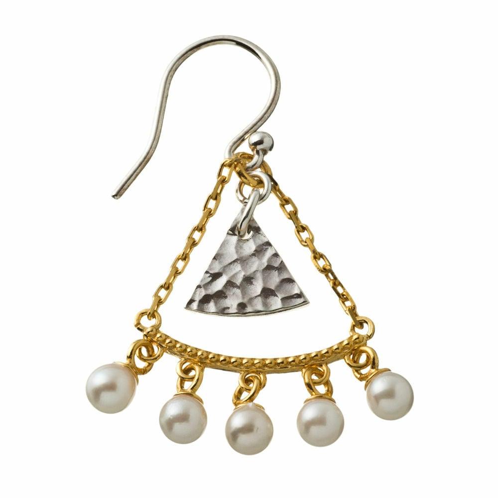 Short triangle pearl earring ショートトライアングルパールピアス(片耳用)ELE0024SG