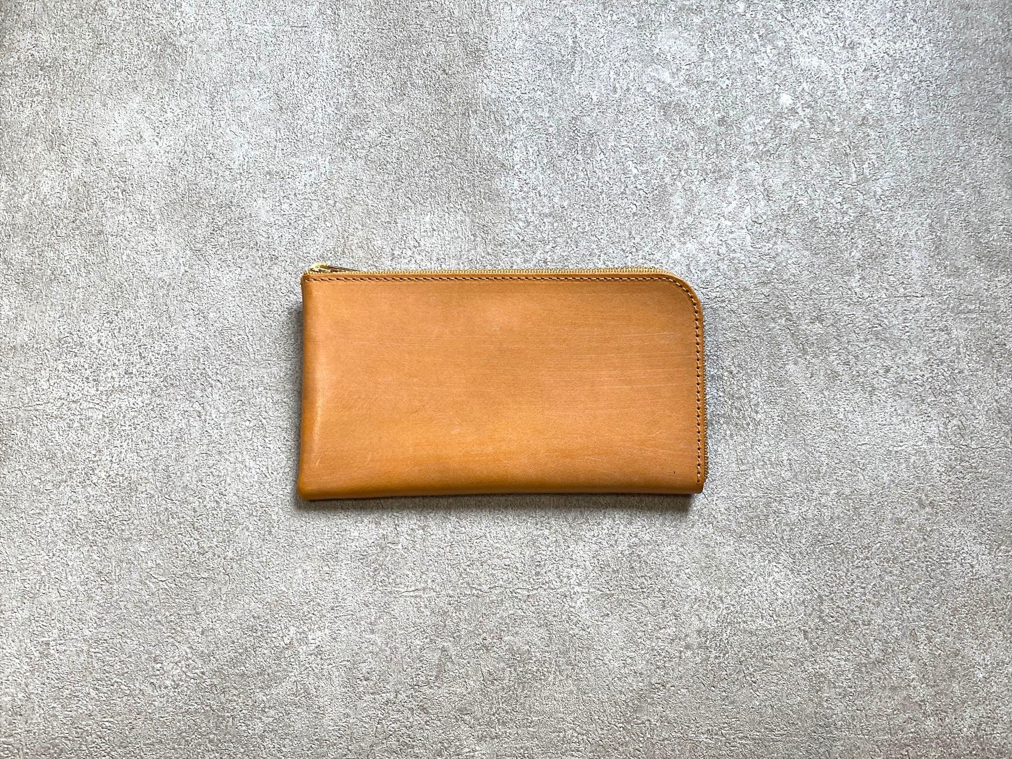 SHOZOウォレット(ヌメ革ロウ引き):キャメル ※「アジア・パシフィック・レザー・フェア2019」革小物部門グランプリ受賞商品