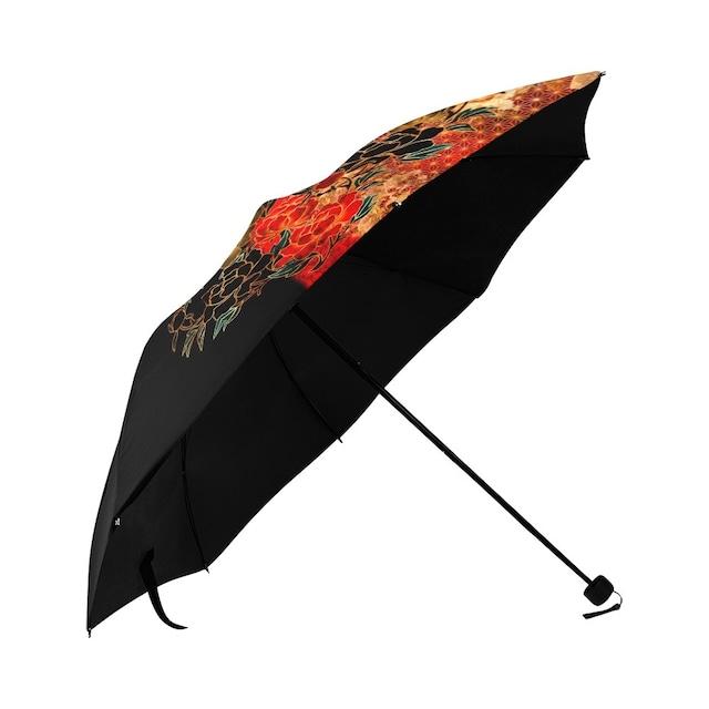 牡丹家紋 黒 折りたたみ日傘