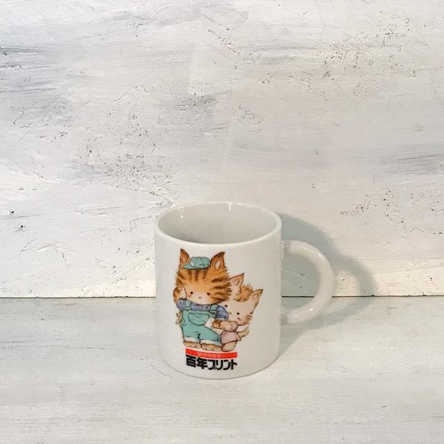【R-641】サクラカラー百年プリント猫マグカップ