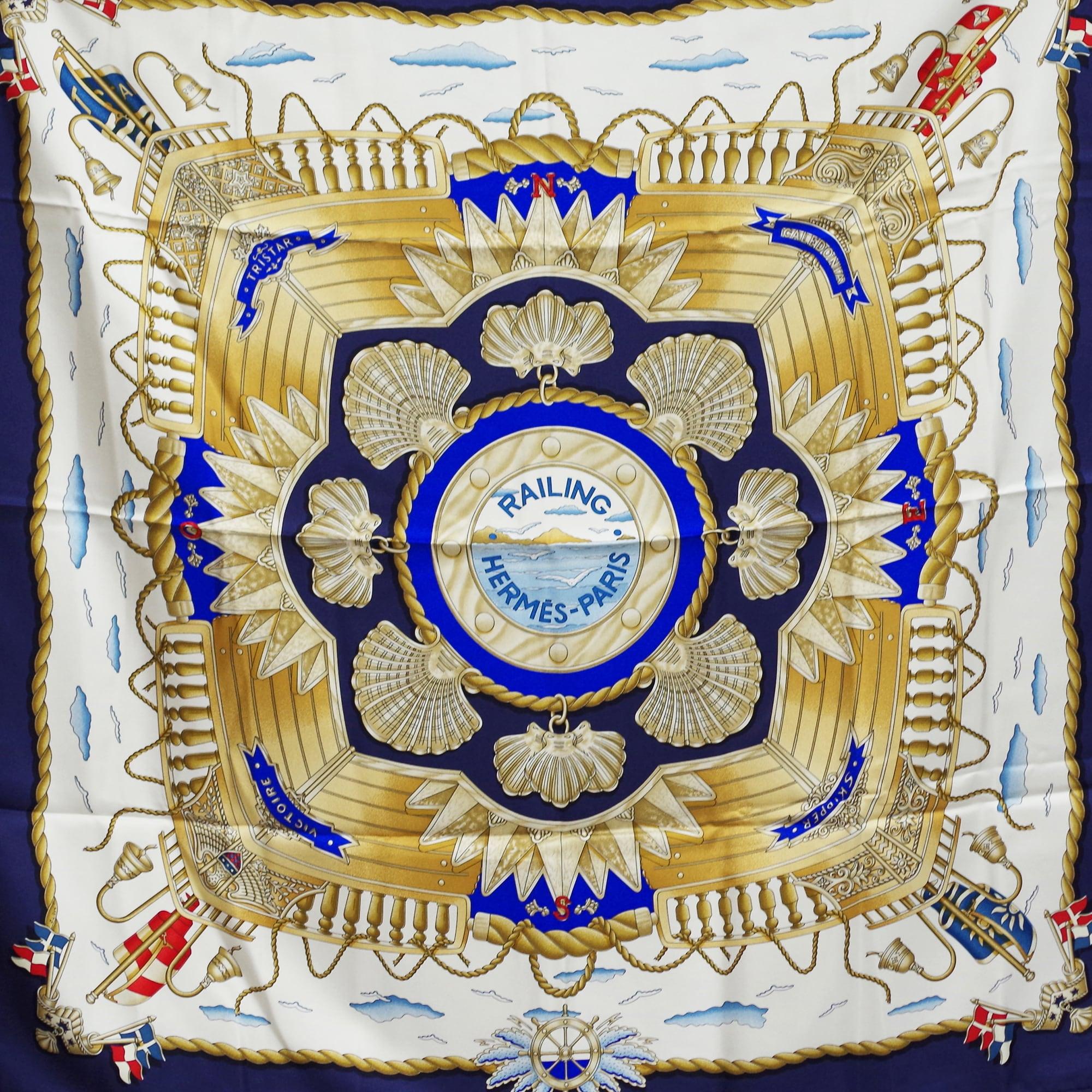 HERMES エルメス カレ 90[船の手摺]スカーフ ブルー シルク アクセサリー