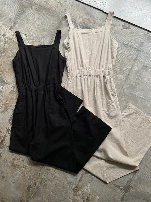 Linen jumpsuit - black & ivory -
