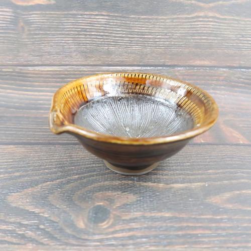 小鹿田焼 4寸すり鉢 内側トビカンナ 飴色 坂本義孝窯