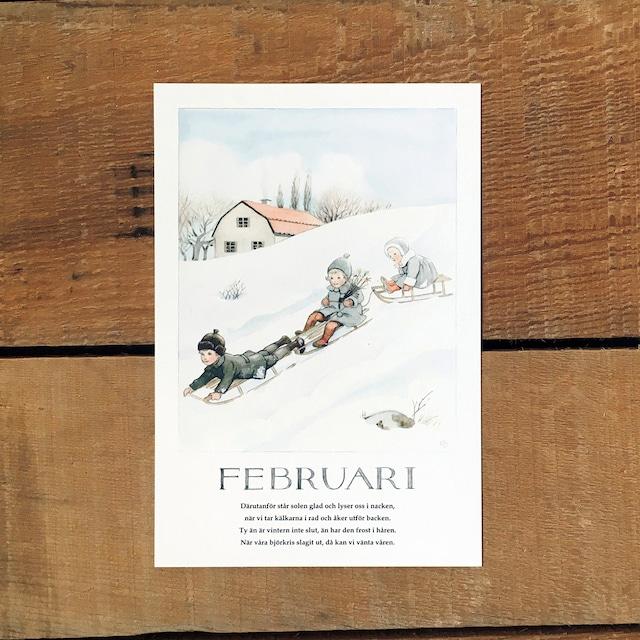 ポストカード「2月@FEBRUARI(いちねんのうた - 02)」
